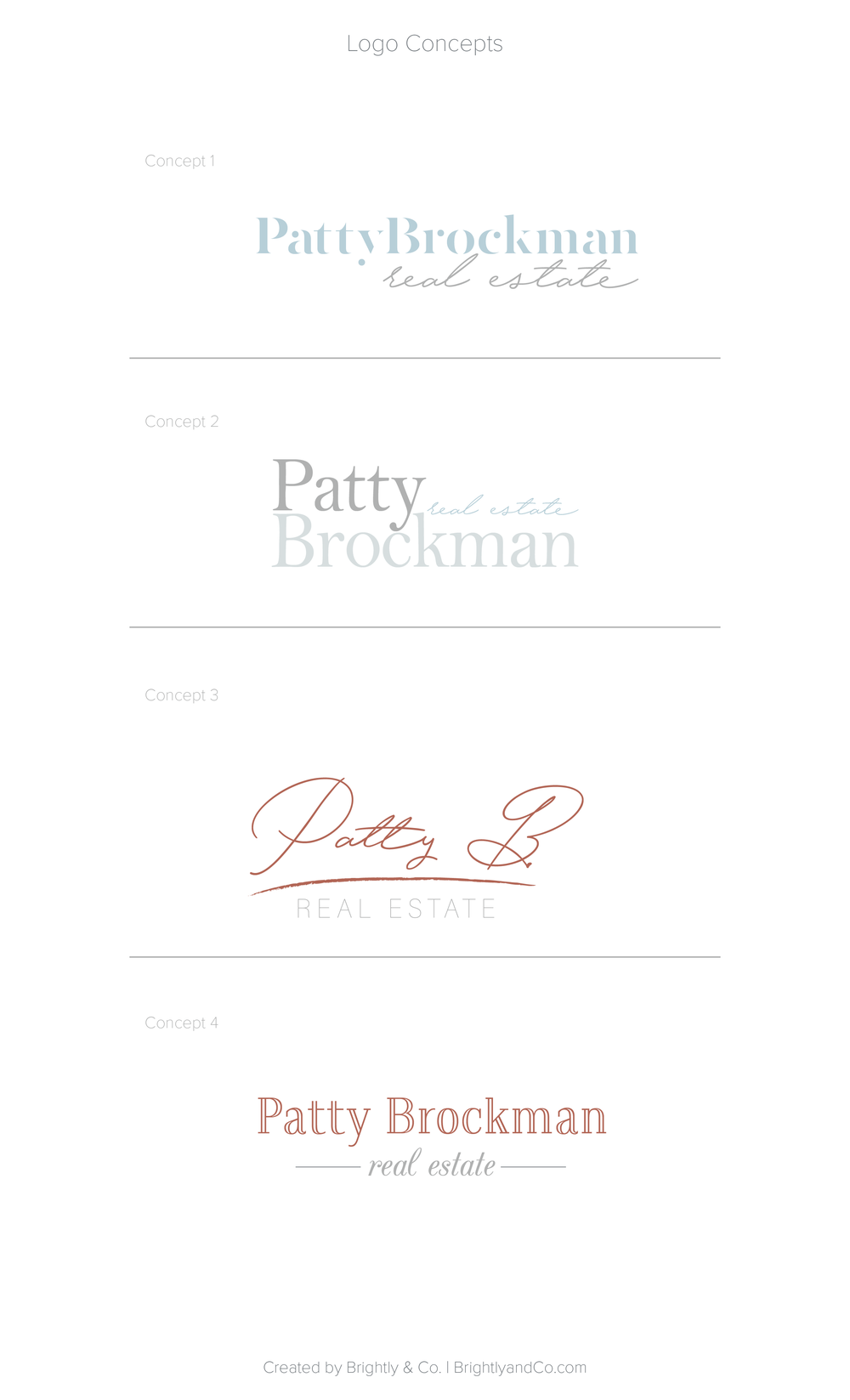 Patty Brockman Real Estate Brand Design (Logo Concepts) by Brightly & Co. | www.BrightlyandCo.com