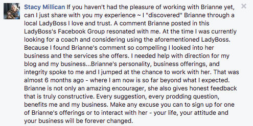 Stacy Millican testimonial for Brianne of Brightly & Co