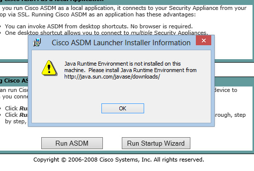 Installing Cisco ASDM 6.1 on Windows 8 Fails with Java Error: \