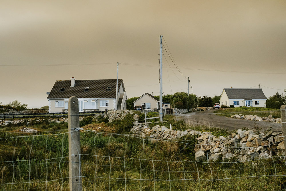 View of smoke from a forest fire near Sligo, visible from Galway