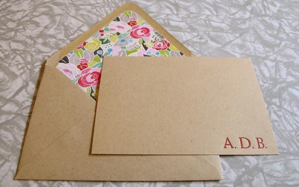 Custom Monogram with envelope liner.