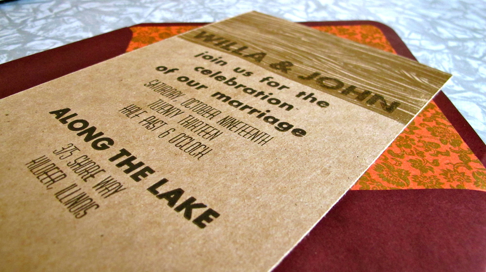 letterpressed invitation with hand embossed woodgrain.
