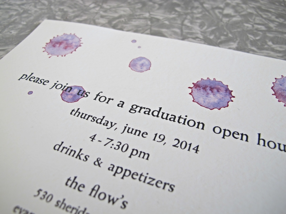 Letterpressed graduation invitations with watercolor.