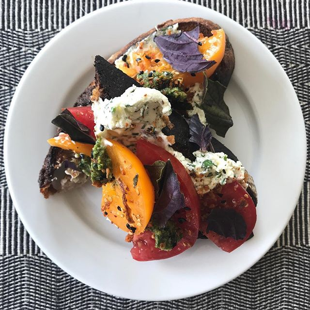 Weekend menu!  Start with persimmon & beefsteak tomato toast with herb fromage blanc, lemon basil, togarashi on sourdough charcoal bread.  #ojai #winebar #summermenu