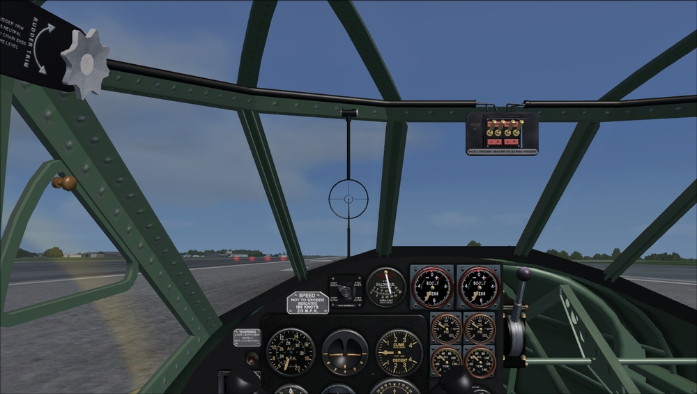 FSAddon – Pilot's forward view at 40% magnification, with seating position slightly adjusted to give same view as A2A screenshot