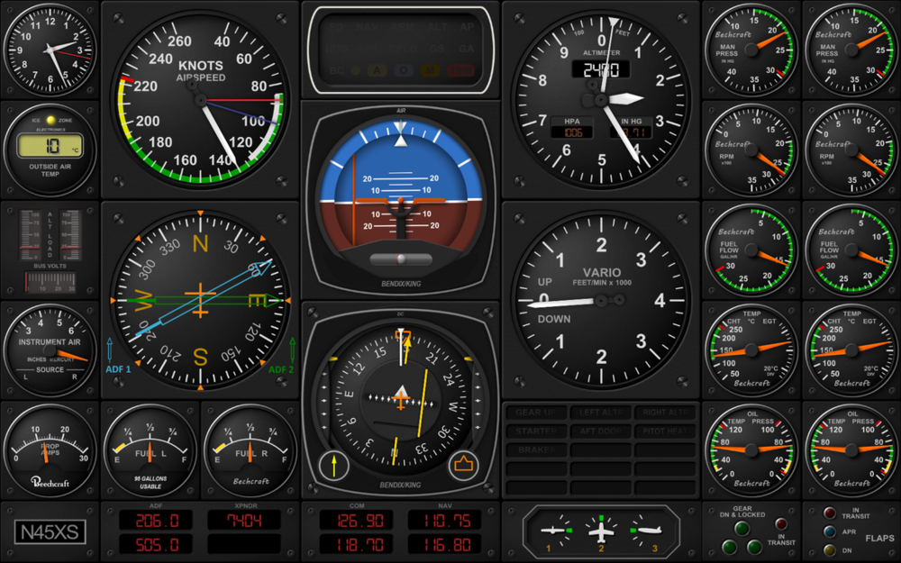 A Beechcraft Baron B58 Air Manager panel that is available free and works with FSX, P3D and X-Plane
