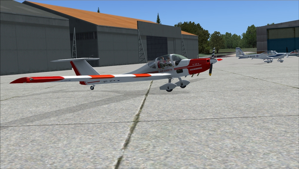 "The Grob Vigilant – The Air Cadet's motorglider, also released a while back by Iris Simulations as the ""Venture"".  In the back, one of the Tutors from the new product."