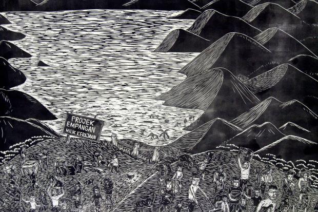 東京の展覧会に出品されたパンクロック•スゥラップの最近の木版画作品。サバ州コタキナバル近郊の小さな村のコミュニティの一つ、ウルパパールの先住民ドゥスンの人々の苦難についての作品。