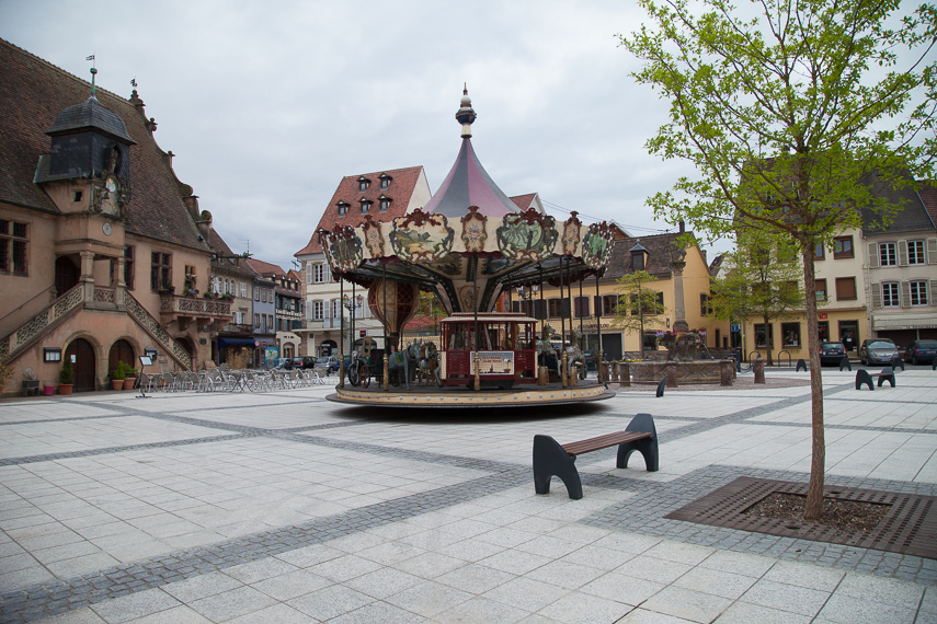 Molsheimin pikkukaupungin keskusaukea.