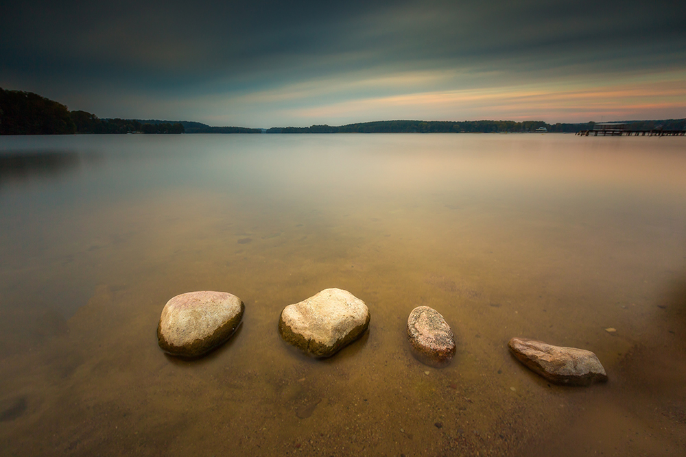 Long exposure landscape of lake shore
