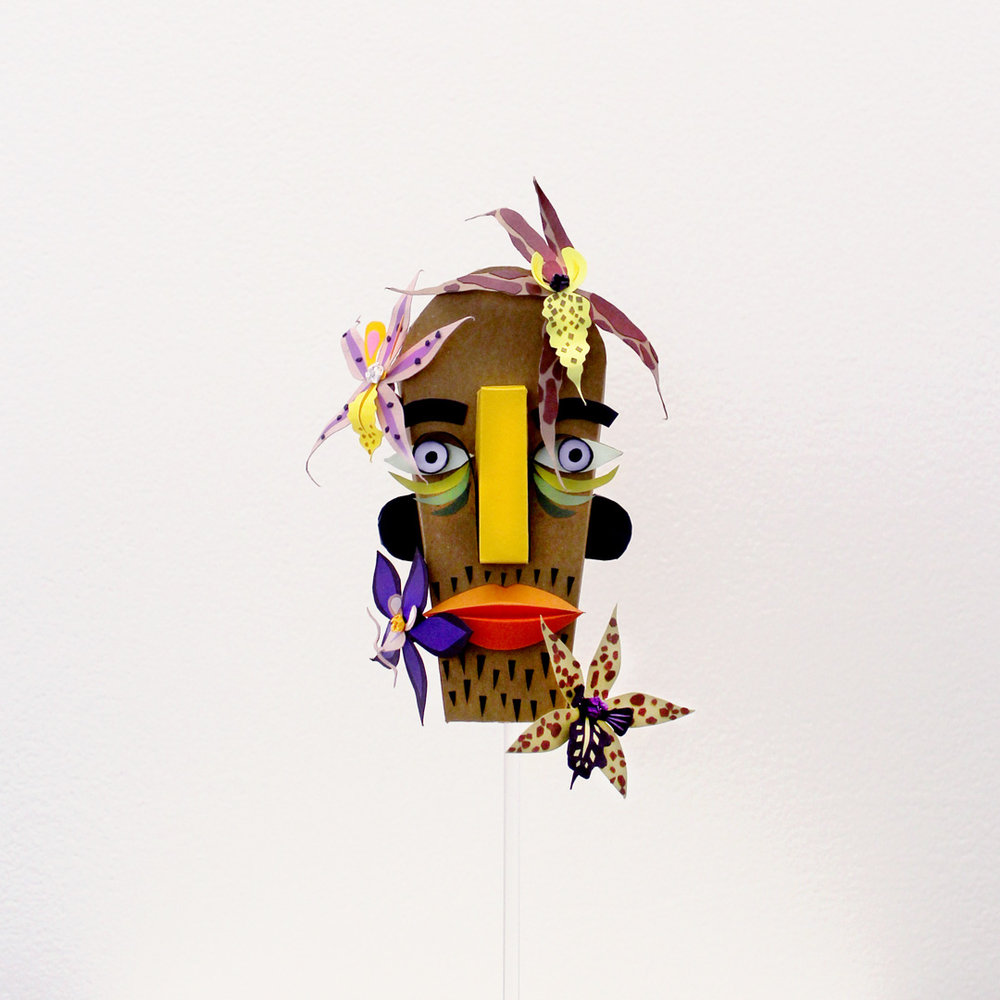 Orchid Man - A paper mask that personified my inner earth man and orchid fanatic. The piece was exhibited alongside several other paper creations in Papershine, a show that exhibited in Melbourne and Sydney in 2018.