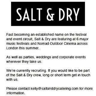 Salt & Dry are in recruiting mode!✌️️Please get in touch if you would like to be part of our summer music Festival team and ongoing events crew! And share the love please 😍💯🎶 Thank you! #londonevents #londonhospitality #londonpopups #londoncaterer #musicfestival #frontofhouse #barstafflondon #kitchenstaff #cocktailwaitress #goodtimes #summer #workhardplayhard #music #instafood #excitingtimes #wewanttohearfromyou 💪