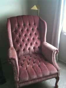 Pink Velvet Tufted Chair  $40
