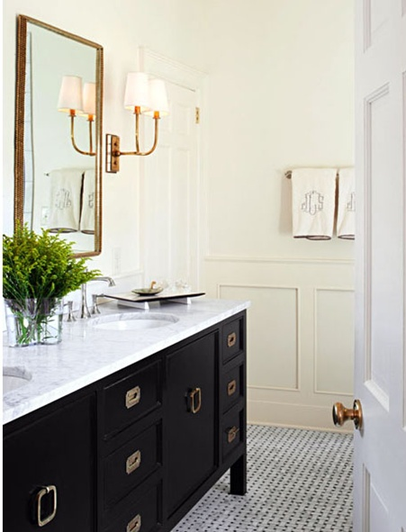 Those Appear To Be Silver/chrome Drawer And Cabinet Pulls With Antique Brass  Sconces And A Chrome Faucet.