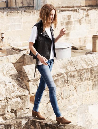 vest + t shirt + jeans + booties