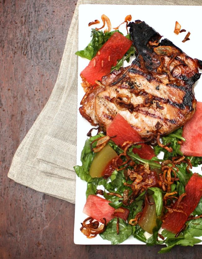 vietnamese pork chops with watermelon salad