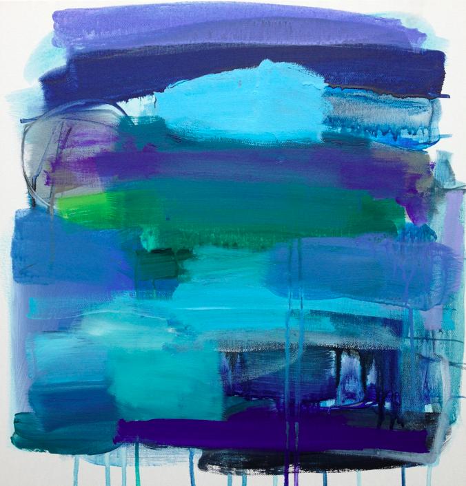 rain on the plain     18 x 18 acrylic, gouache and charcoal on canvas.