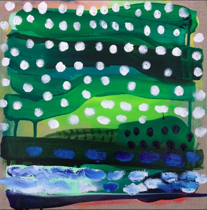 little garden     12 x 12 acrylic, oil, and gouache on linen.