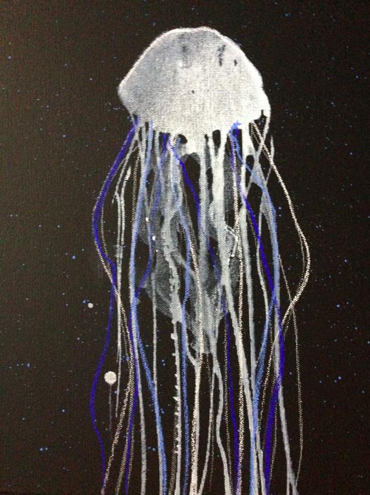 blue veil 9 x 12 black canvas