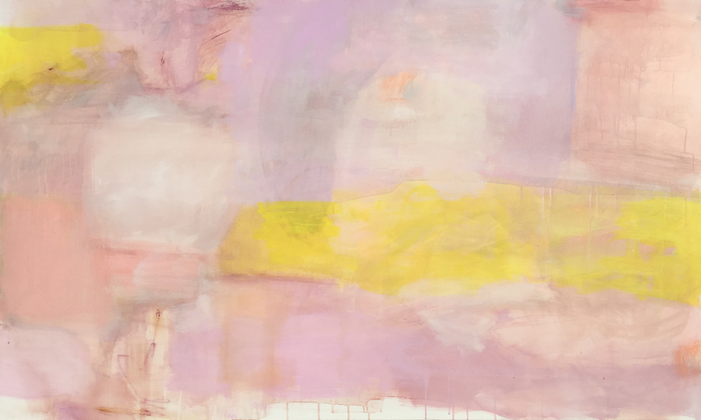 a little wild  layers of paint washed and brushed away to create the shapes and shadows of a landscape. The colors are pale rose, orchid, copper and lemon. 36 x 60