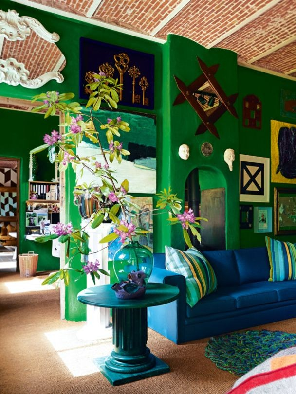 green emerald walls belgian house tour bohemian colour luxury.jpg