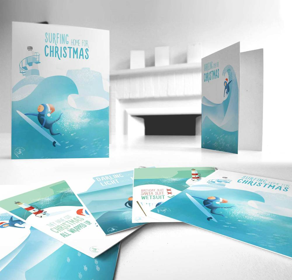 Christmas surfer card collection
