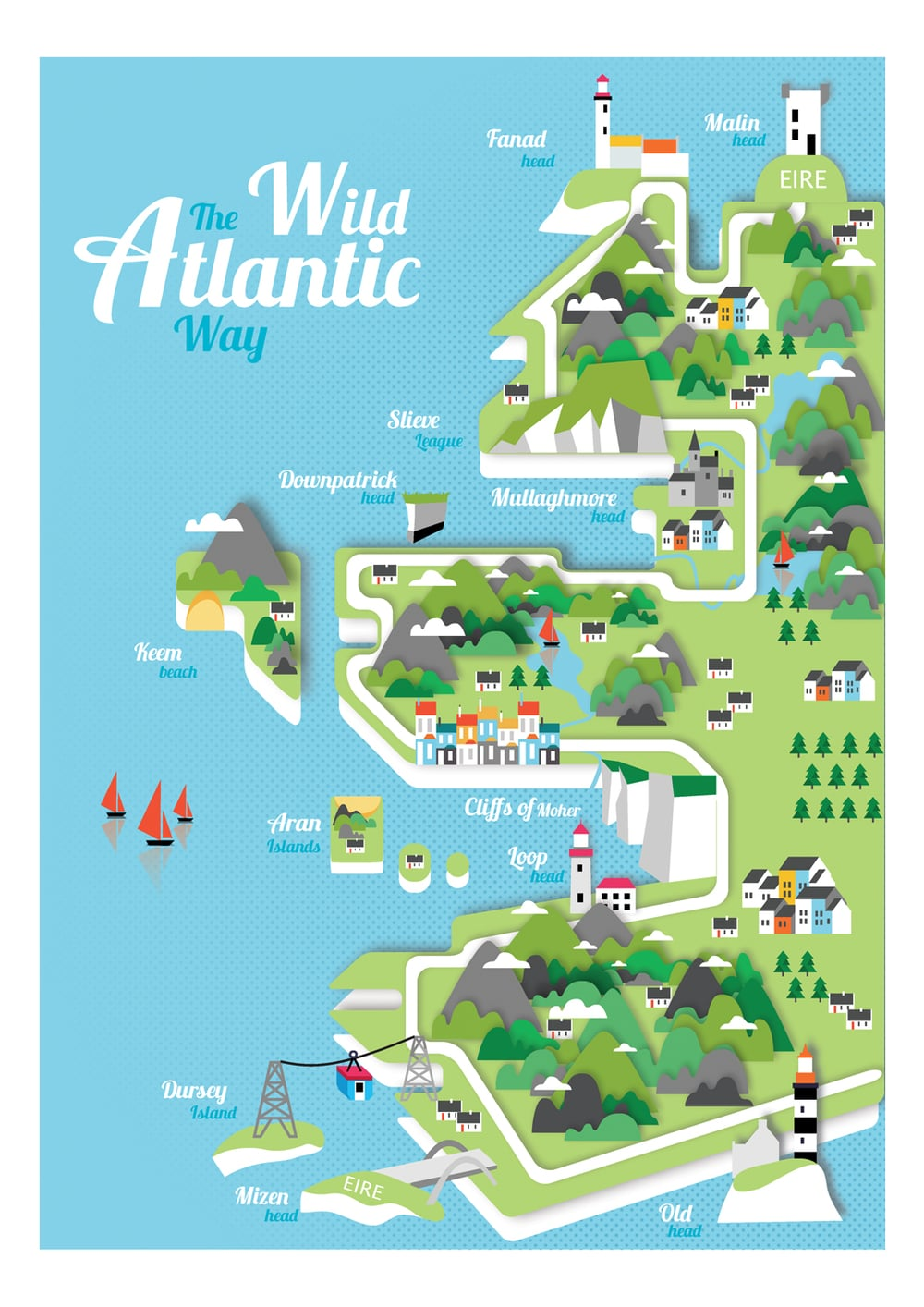 West Of Ireland Illustrated Map Reddin Designs