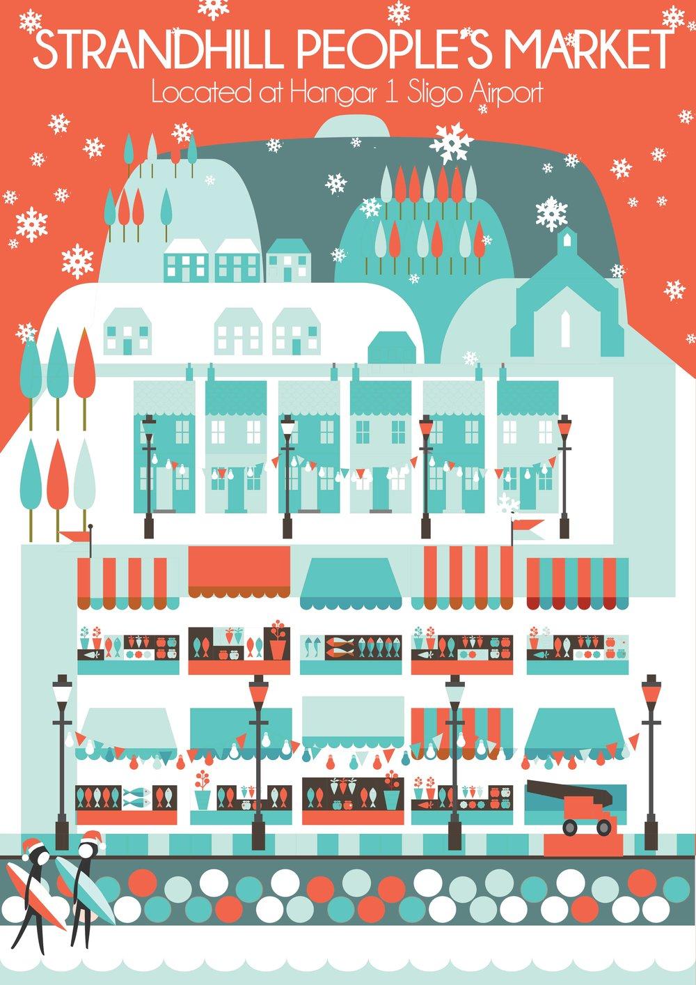 Reddin Designs illustration Strandhill peoples market christmas poster.jpg