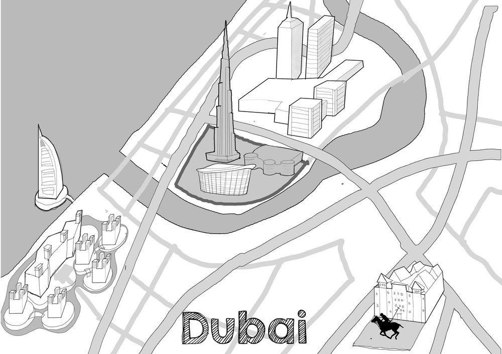 Reddin Designs Dubai Map illustration sketch design