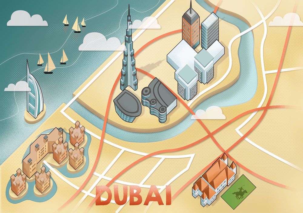 Reddin Designs Dubai Map Illustration editorial