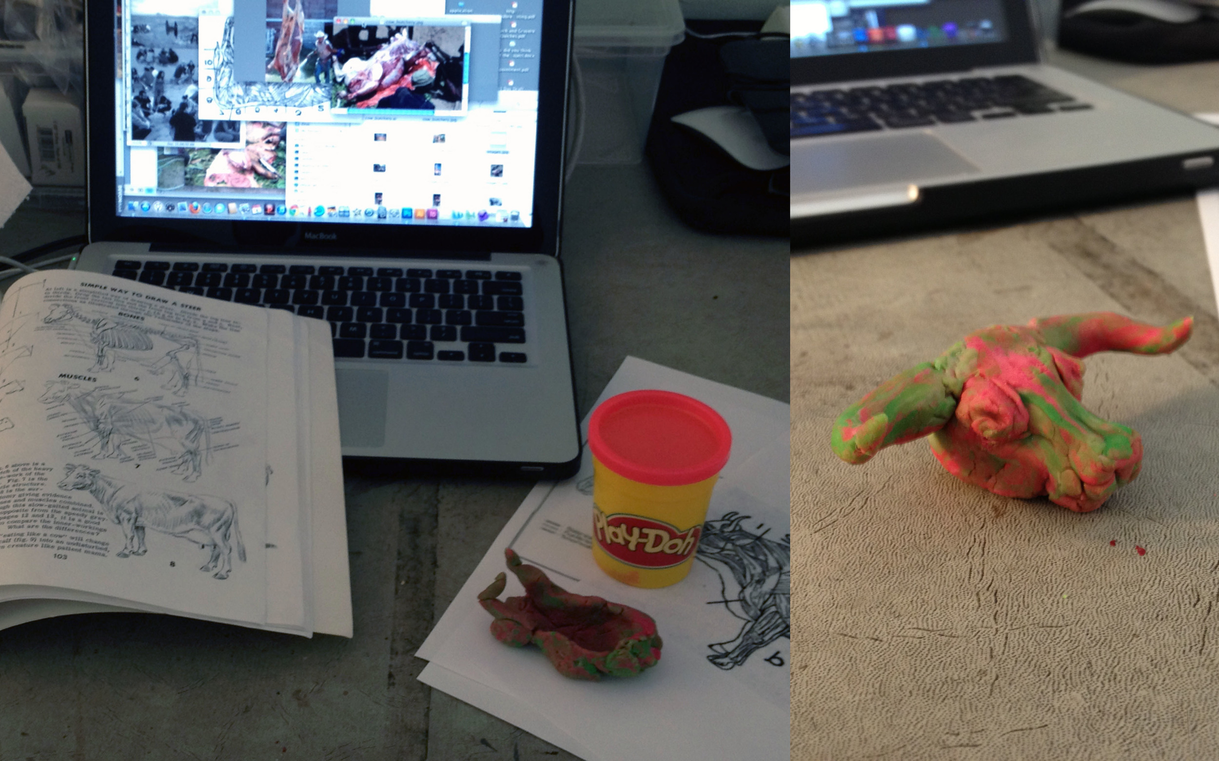 Modelling aurochs butchery with Play-Doh.