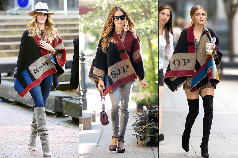 celebrities such as Rosie Huntington-Whiteley, Sarah Jessica Parker, and Olivia Palermo are embracing the new trend with their custom Burberry shawls.