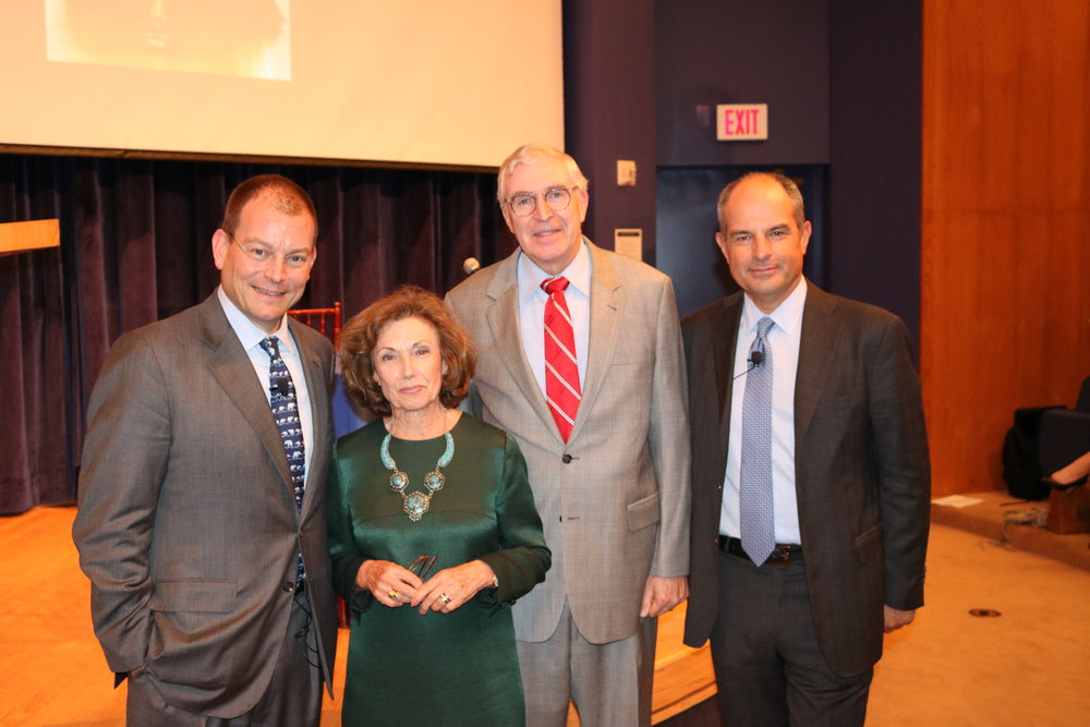 Left to right: Alex Bolen (CEO of Oscar de la Renta), Serafina Hager (Director of Italian Research Institute), Chester Gillis (Dean of Georgetown College),  and Massimo Ferragamo (Chairman of Ferragamo)