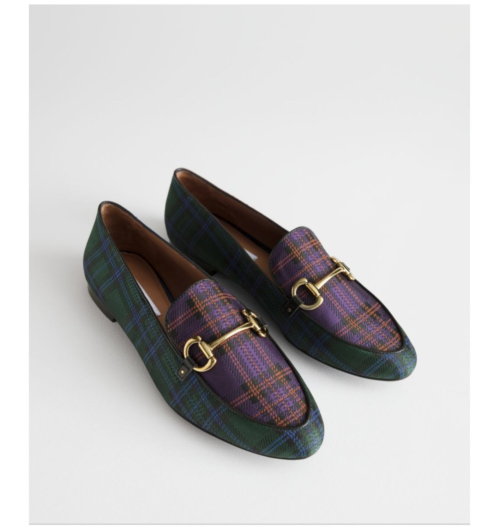 @otherstories, love these mix and match tartan check loafers  (above)