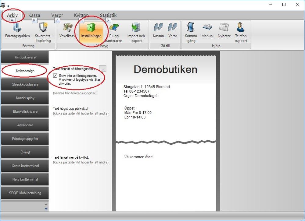 """Kryssa för valet """"Skriv inte ut företagsnamn. Vi skriver ut logotyp via Star drivrutin"""""""