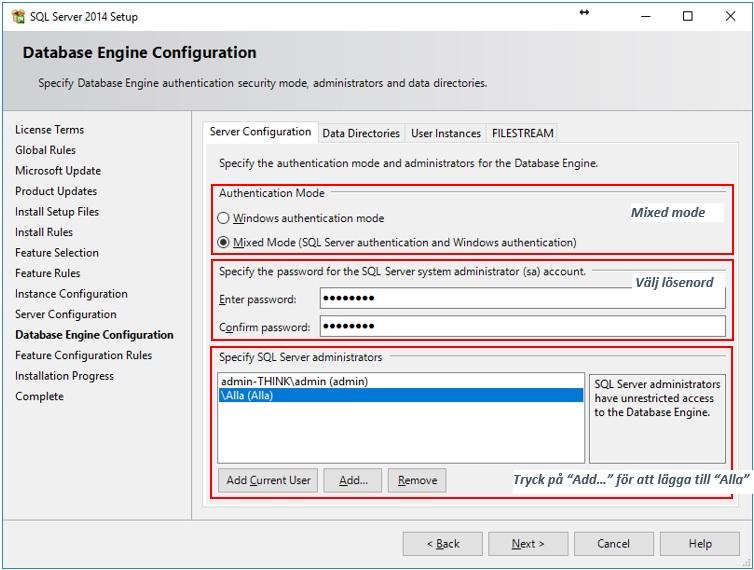 """Tryck """"Next >"""" så installeras SQL Sever 2014 Express…"""