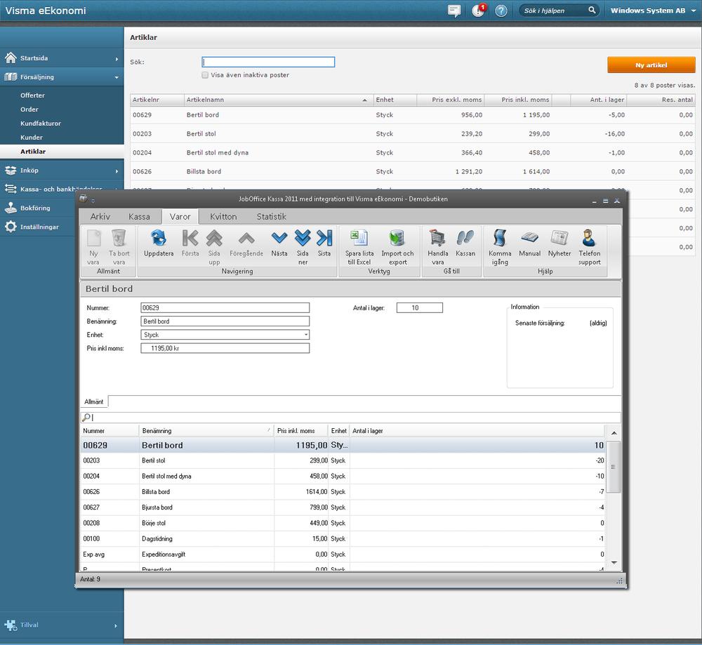 Integrera JobOffice Kassa med Visma eEkonomi