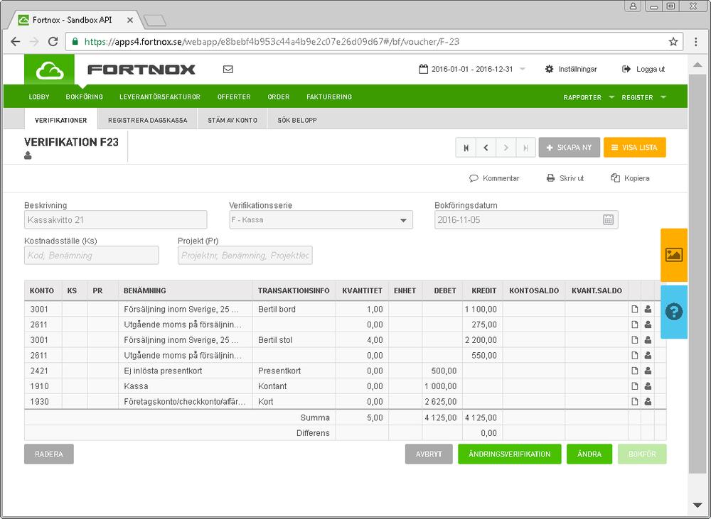 Fortnox - Dina kvitton bokförs i Fortnox allt efter som du säljer där verifikatet innehåller detaljerad information om vad du har sålt. Lagret i Fortnox uppdateras såklart så du som har en webbshop ansluten till din Fortnox kan känna dig trygg med att lagerantalet på webben stämmer.