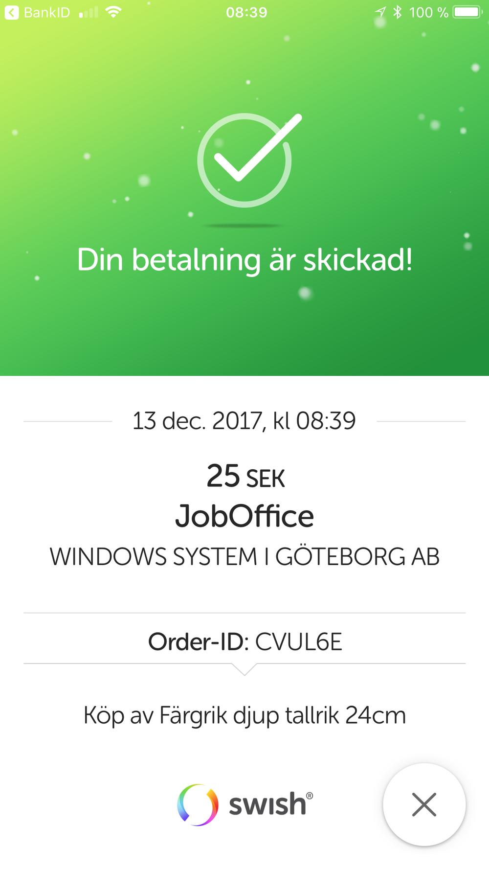 Slutför betalningen i mobilen med Swish Handel och JobOffice Kassa