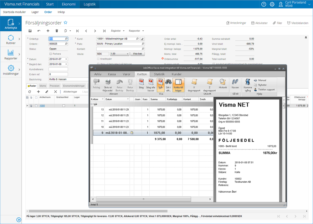 Integration Visma.NET Financials med JobOffice Kassa