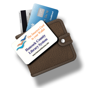Image of a library card and a wallet