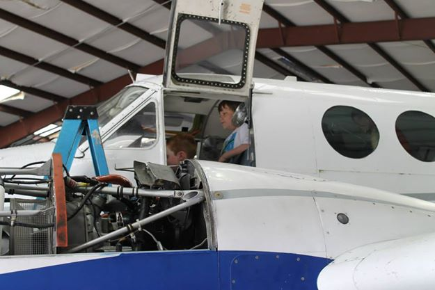 Summer Reading Program 2014: Checking out one of the airplanes at the Dynamic Aviation hangar