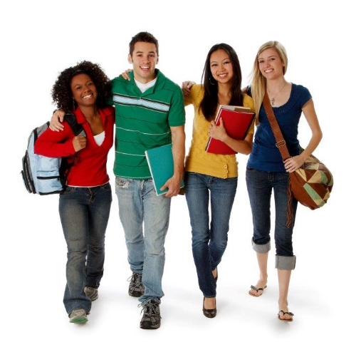 A group of teens with school bags and folders.