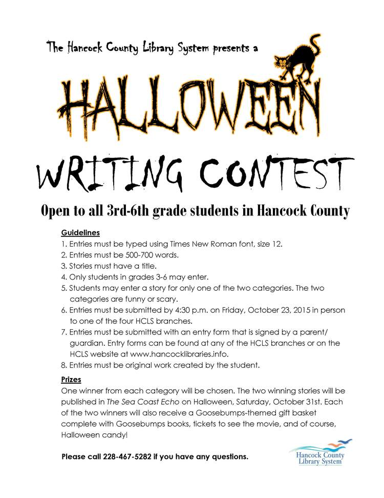halloween writing contest entry form hancock county library system - Halloween Short Story Contest