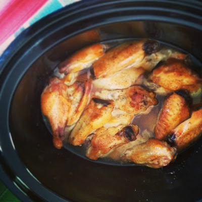 Cooked wings. All that juice and fat came out in cooking.