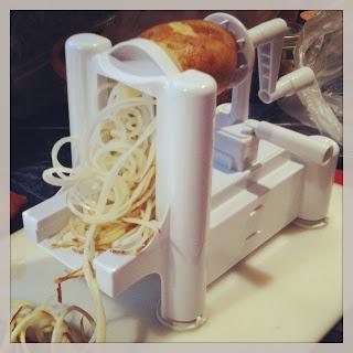 Spiralizing potatoes