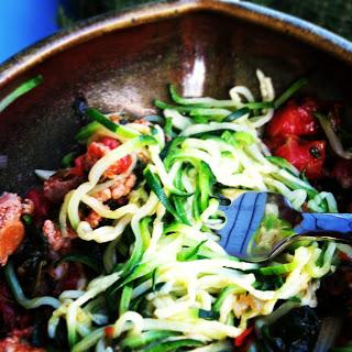 "Turkey sausage and roasted tomato ""zucchini pasta"""