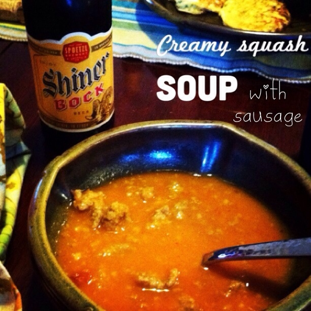 creamy squash soup with sausage