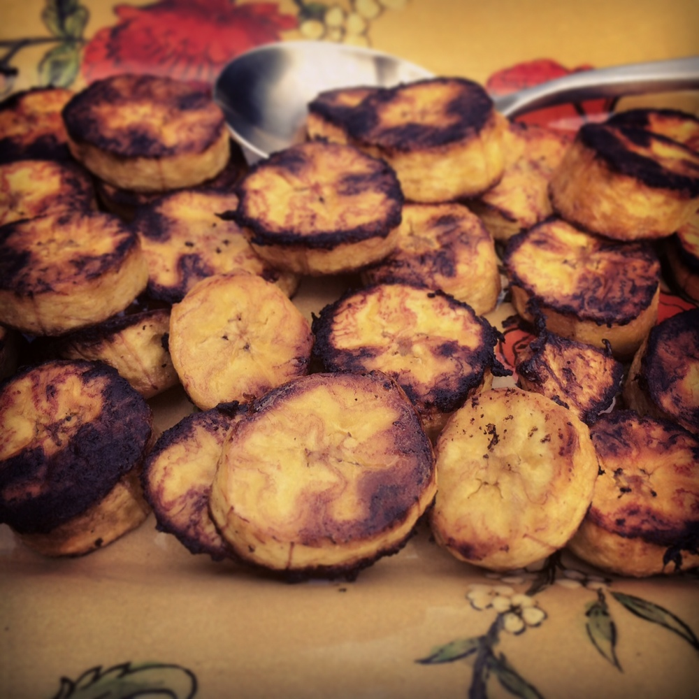 Plantains caramelized from their trip in the oven.