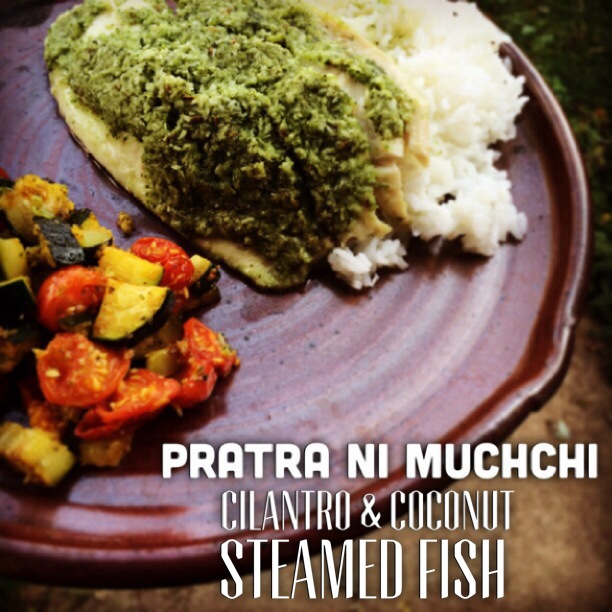 cilantro and coconut steamed fish